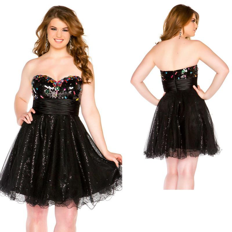 Shiny Black Sequin Sweetheart Neckline Short Puffy Plus Size