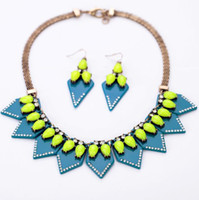 Wholesale Necklace Earrings Neon - Vintage jewelry set neon trangle tassel necklace & earring high quality jewelry gift
