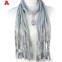 woven cotton necklaces Canada - Silver Plated Drop Pendant jewelry Scarves Tassel Cotton Long pendant Scarf necklace jewelry for women NL-1221