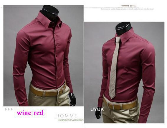 Venta al por menor los hombres los hombres de alta calidad del ocio caliente Vogue caramelo color puro manga larga camisa de vestir de color 17 talla M-5XL shiping