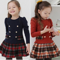 Wholesale Vestidos Infantil - preppy style New School Girl Dress Scottish Double Breasted Girl Plaid Dresses Pleated Vestidos Infantil Manga Long Sleeve Autumn Spring