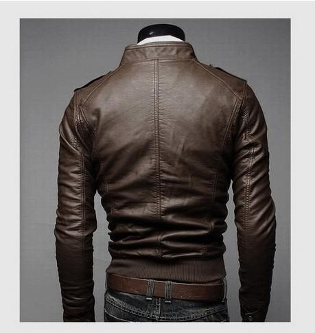 Hot High-quality Men slim leather zipper stand collar washed leather male locomotive coat jacket overcoat Y93