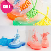 Wholesale Clear Colorful Boots - Free Shipping! PVC Transparent Womens Colorful Crystal Clear Flats Heels Water Shoes Female Rainboot Martin Rain Boots