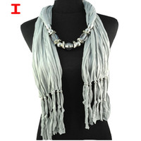 Wholesale Camel Scarf Women - Korea Fashion Scarf Necklace Beads Pendant Scarf Jewelry Scarves Camel Tassel Shawls for Ladies accessories ,NL-1306