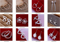 Wholesale Sterling Silver Drop Earings - 5pairs Lot mixed wholesale 925 Sterling Silver Jewelry drop Earings Brand New free shipping