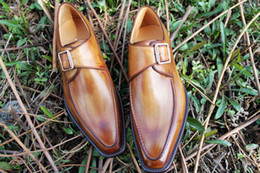Brown Monk Strap Canada - Men Dress shoes Monk shoes Oxfords shoes Custom handmade shoes men's shoes Genuine calf leather Color brown HD-N116