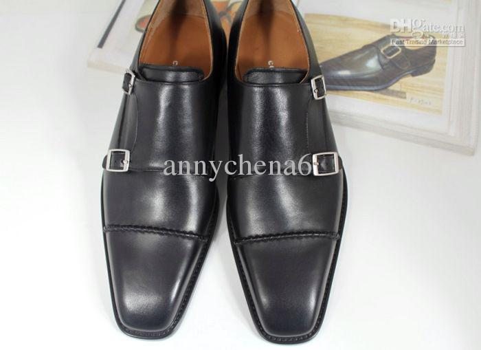 7d51be2480888 Acheter Hommes Chaussures Habillées Monk Chaussures Richelieus Chaussures  Chaussures Faites Main À La Main Véritable En Cuir De Veau Couleur Noir  Double ...