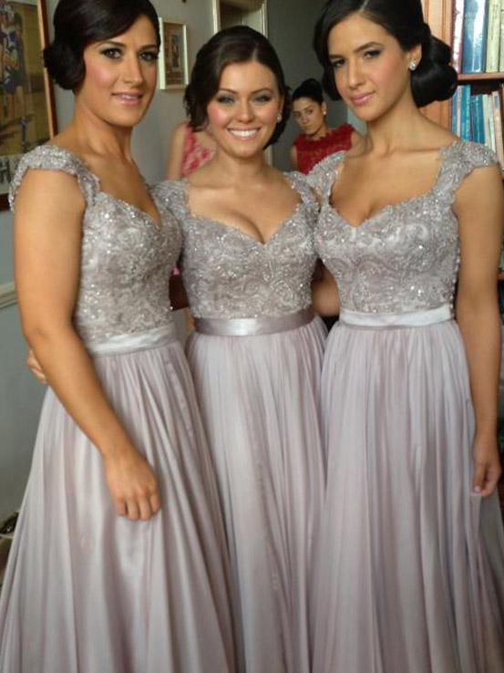 bridesmaid dresses silver color