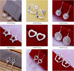 Wholesale Silver Cubic Zirconia Earings - 10pairs Pack mixed style wholesale 925 sterling silver earings Hallowmas gift boxes free shipping