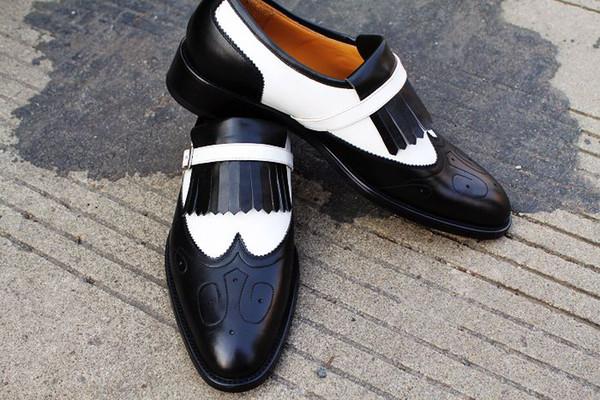 Acquista Scarpe Eleganti Da Uomo Scarpe Eleganti Scarpe Senza Lacci Scarpe Artigianali Su Misura Scarpe Oxford Uomo Scarpe In Vera Pelle Color Split