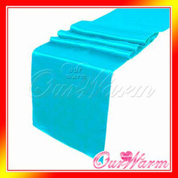 """Wholesale Turquoise Satin Runners - Free Shipping Brand New Aqua Blue   Turquoise 12""""x108"""" Satin Table Runners Wedding Party Supply Decoration Many Colors Hot"""