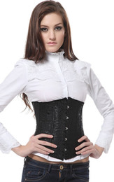 Wholesale White Red Cincher - Sexy black and red satin underbust Waist Cincher corset 9427, Size S M L XL 2XL
