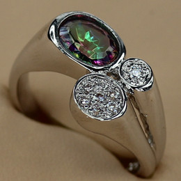Discount rainbow titanium jewelry - Classic Rainbow Mystic stone Fashion jewelry Silver Plated RING R3279 sz#6 7 8 9 Promotion Favourite Best Sellers