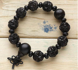 Wholesale Tibet Wood Carvings - 16mm Tibetan Buddhism sandalwood hand-carved Buddha head charm bracelet beads
