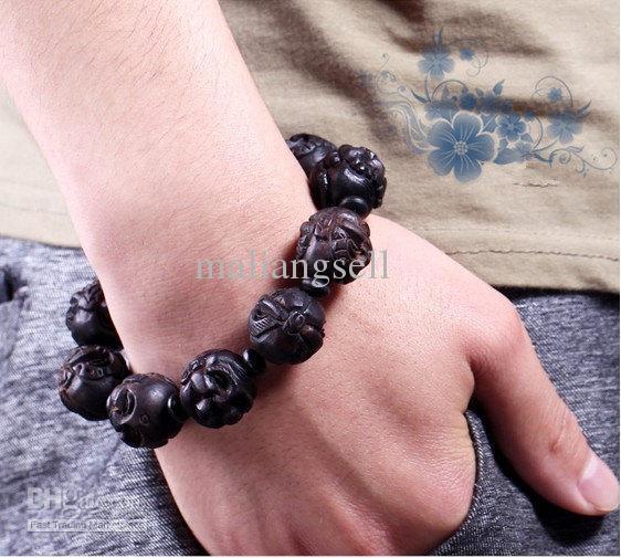 Branelli del braccialetto di fascino della testa di Buddha intagliati a mano di Buddha del buddismo tibetano di buddismo di 16mm