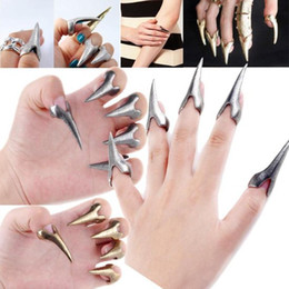 Wholesale Rock Band Rings - 20X New Fashion Retro Punk Rock Gothic Talon Nail Finger Claw Spike Rings Fingertip [VR118(20)]