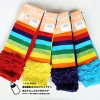 Wholesale Pantyhose Stripe Children - Children 9 pants kids Leggings Lace pantyhose rainbow stripes tights 4 color 16 pcs lot W2006