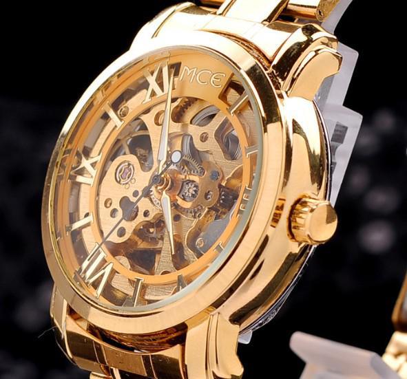 e18c0898639 Marca MCE Pulseira De Ouro Moldura De Ouro Oco Esqueleto Assista Homens  Relógio De Aço Inoxidável Relógio Mecânico MCE Relógios De Ouro Dorp Grátis  De ...