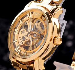 Wholesale hollow skeleton mechanical watch - Hot!!! Brand MCE gold strap golden frame hollow skeleton watch men Stainless Steel Watch Mechanical Watch MCE Gold watches dorp shipping