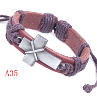 Wholesale Bundle Plates - New Fashion Bundle Cross Bracelet Leather Alloy Free Size Handmade Retro Jewelry Charm Bracelets Best Gifts A35
