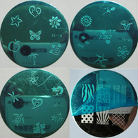 Wholesale Metal Plate Nail Stamping Kits - High Quality ! 4 Style Pretty Designs TV Nail Stamping Kit Nail Stamp Plate Round Image Plate Nail Art Stencil Metal Print Template Set NEW