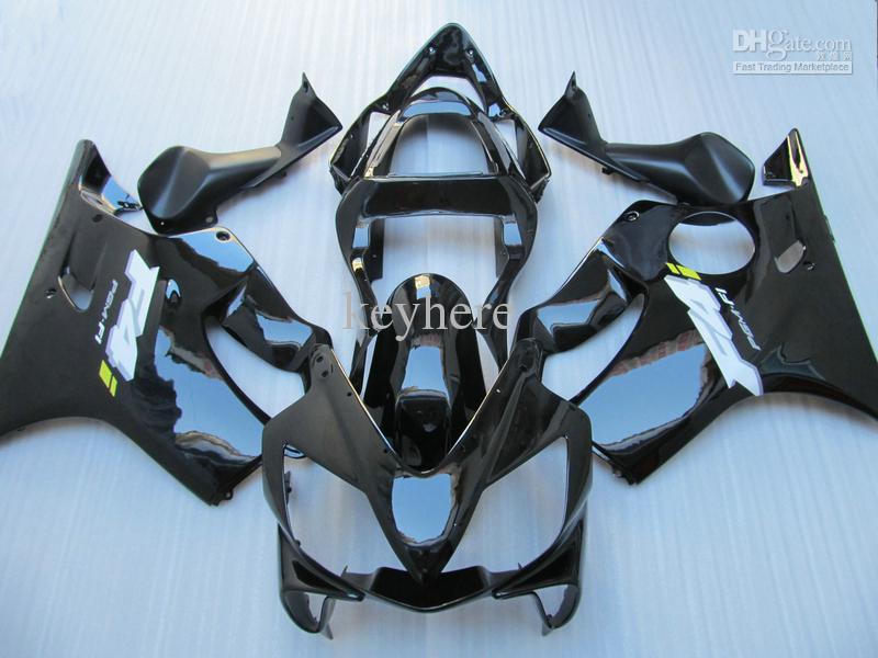 Custom Black Motorcyle Fairing Kit för Honda CBR600 CBR 600 F4I 01-03 2001-2003 Svart ersättning