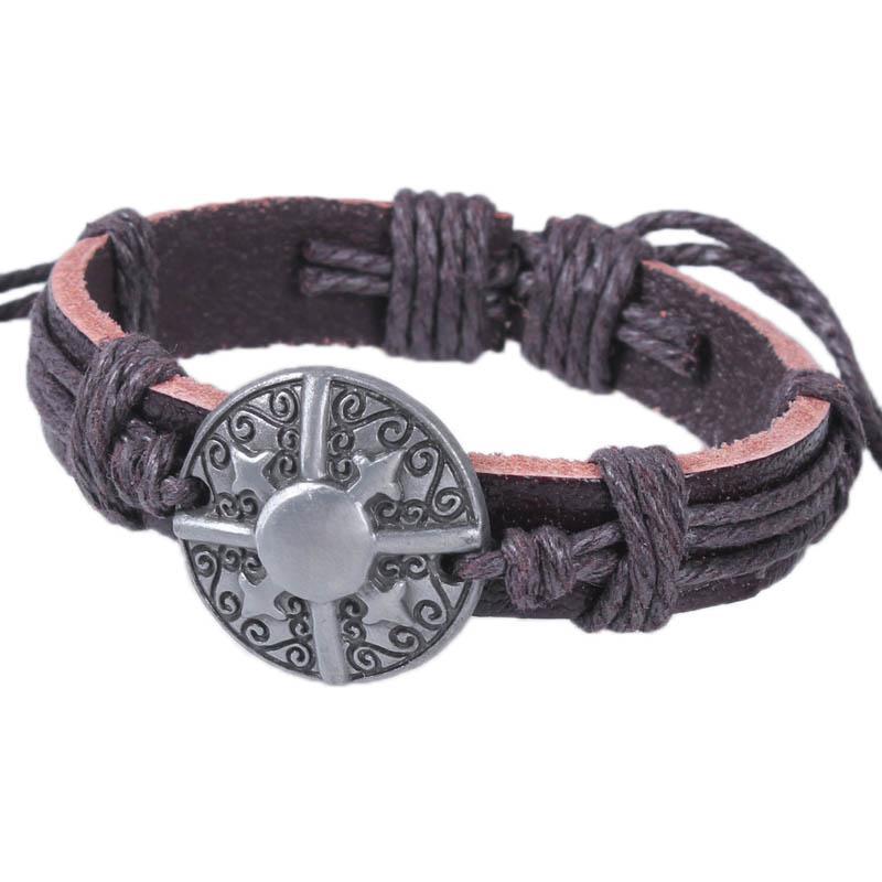 New Hot Vintage Bouclier Bracelet En Cuir Alliage Taille Libre À La Main De Mode Bijoux Charme Bracelets A45