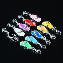 Wholesale Silver Flip Flop Bracelet - 100PCS Mixed Mini Slippers Flip Flop Lobster Clasps Charms Fit Bracelet Chain