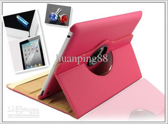 tablet pc 360 degree Rotating PU Leather Cover Case for ipad 2 ipad 3 ipad 4 smart stand with magnet