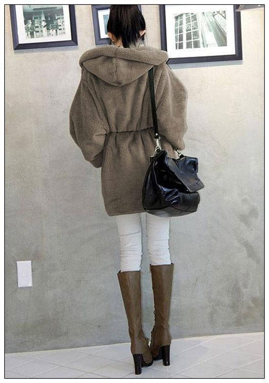 2016 Abrigos de invierno Moda mujer abrigo y tops suelto abrigo con capucha casual para mujer abrigo cálido abrigo de tejido de lana abrigo de niña con cinturón prendas de vestir exteriores