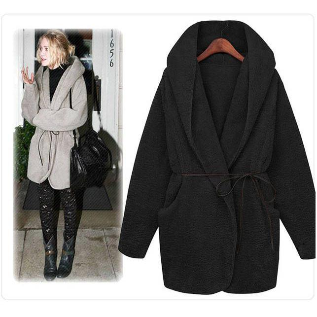 2016 Winter Coats Fashion women coat and tops loose hooded coat casual ladies coat warm girl coat woolen fabric coat with belt outerwear