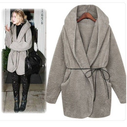 Wholesale Ladies Woolen Tops - 2016 Winter Coats Fashion women coat and tops loose hooded coat casual ladies coat warm girl coat woolen fabric coat with belt outerwear