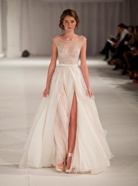 Paolo Sebastian Transparent Applique A Line Prom Dresses Jewel ...