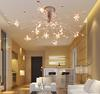 Glass K9 Crystal Fowers Ceiling Light Modern Minimalist Creative Chandelier Living Room Dining Room Light Dia 90cm H 25cm
