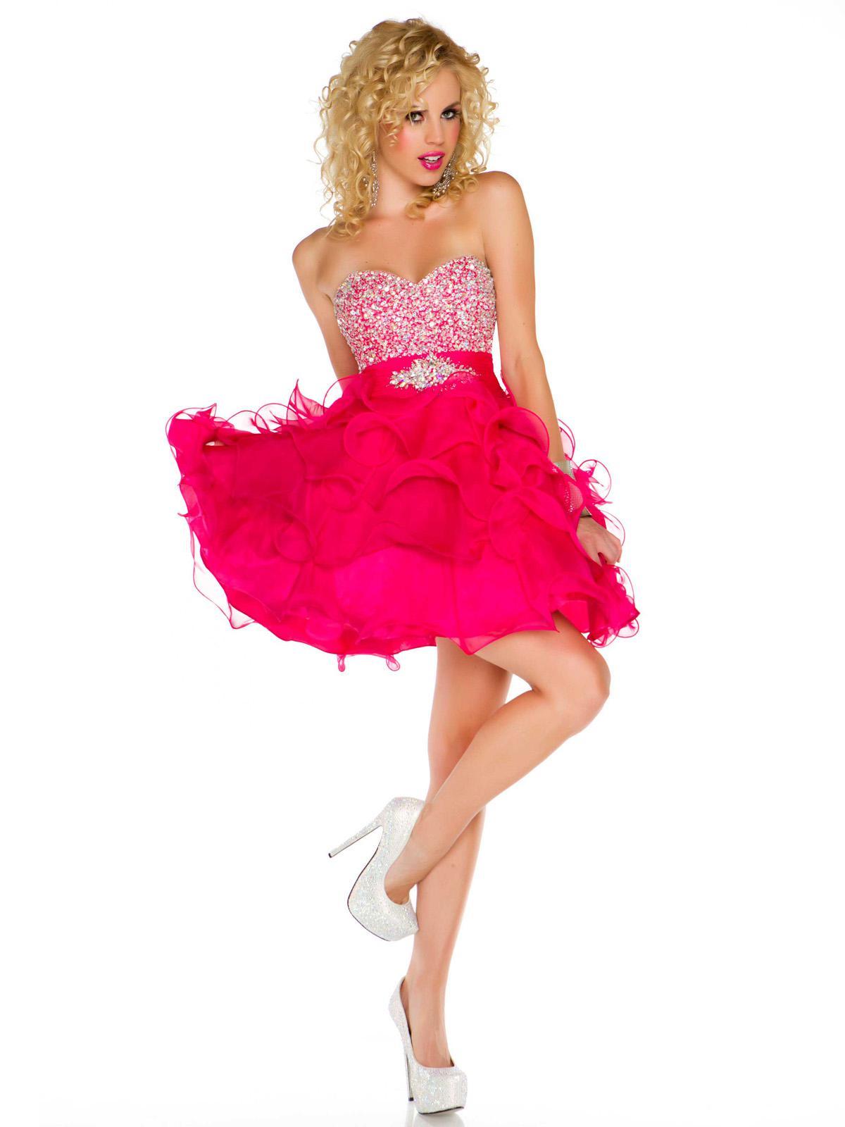 Glamorous Beaded Bust Strapless Ruffle Skirt Hot Pink ...