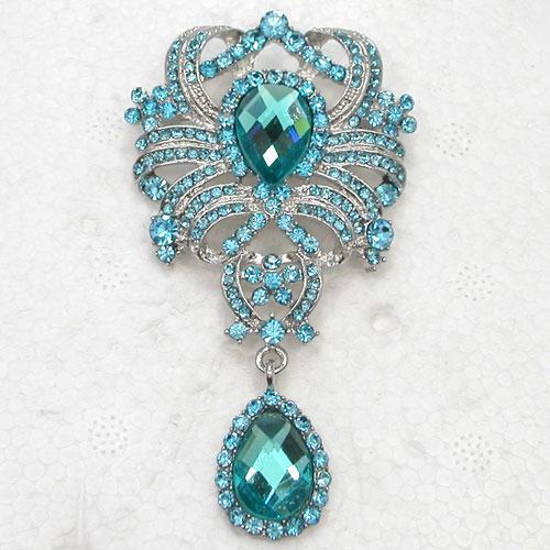 Wholesale Aquamarine Crystal Rhinestone Glass Gem Bridesmaid Wedding Party prom Bride Flower Pin Brooch Fashion brooches C882