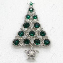 christmas brooch wholesale Australia - 12pcs lot Wholesale Crystal Rhinestone Christmas tree Pin Brooch Christmas gifts Jewelry Fashion Apparel brooches C2022