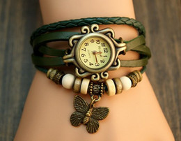Wholesale Genuine Cow Leather Watch - Butterfly Bracelet watches Genuine Cow Leather Strape wrist watch women Ladies men Fashion Vintage Butterfly tag quartz watch free shipping
