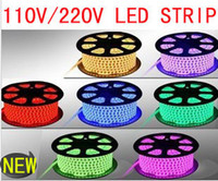 Wholesale wholesale led neon rope lights - RGB AC 110V LED Strip outdoor waterproof 5050 SMD Neon Rope Light 60LEDs M with POWER SUPPLY Cuttable at 1Meter via DHL FedEx