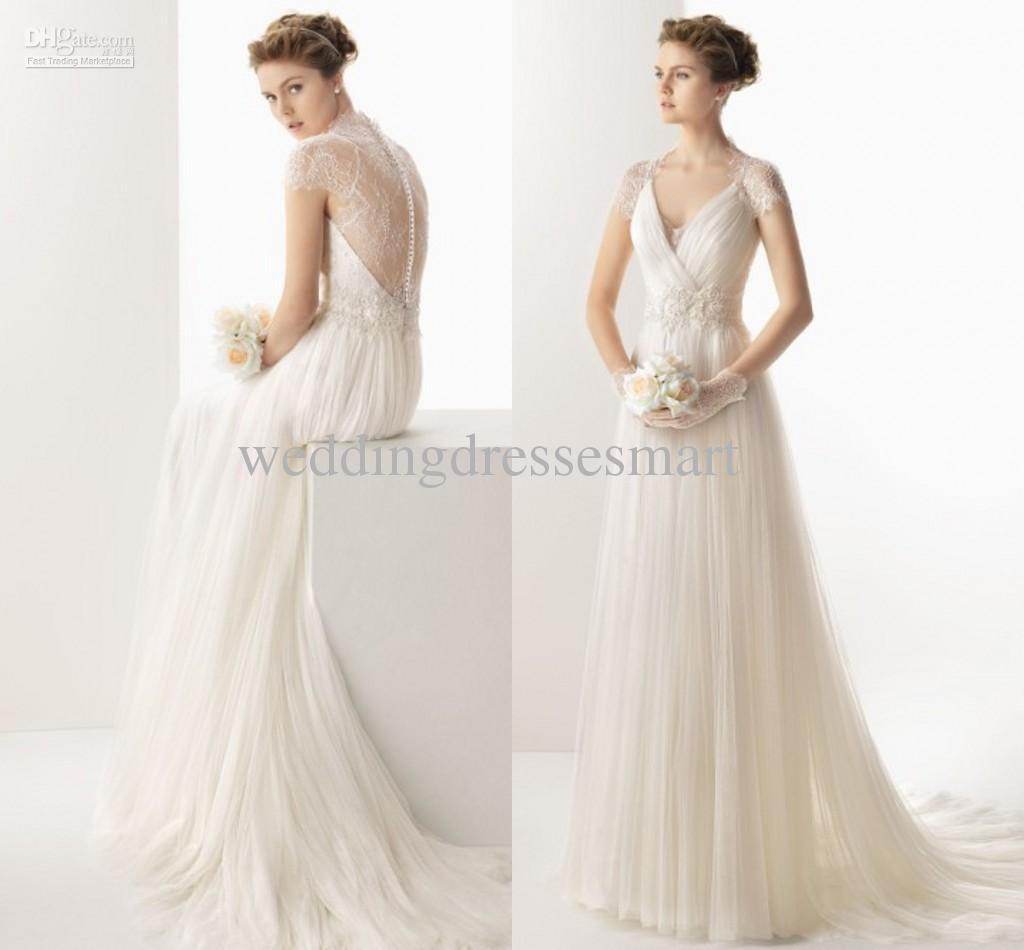 Discount 2014 Vintage Slim A Line Wedding Dresses Pleated Tulle ...