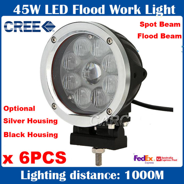 """6pcs 5.5"""" 45W CREE 9-LED*5W Driving Work Light Round Offroad SUV ATV 4WD 4x4 Spot / Flood Beam 3800lm 9-60V Replace HID Xenon Truck Trailer"""