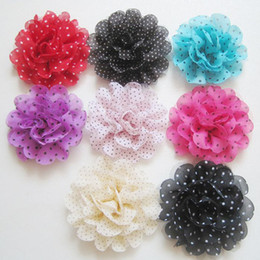 Wholesale Duck Clips - Baby Barrettes Hairpin Girl Dot Flower Hair Clips Hair Accessories DIY Photography props Duck clip Barrettes Chiffon Flower Corsage 40pcs