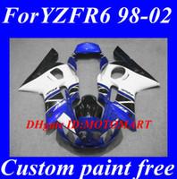 juegos de carenado r6 al por mayor-Kit de carenado del molde de inyección para YAMAHA YZF R6 98 99 00 02 YZFR6 YZF600 1998 1999 2002 blanco azul negro Carenados conjunto + 7gifts YF58