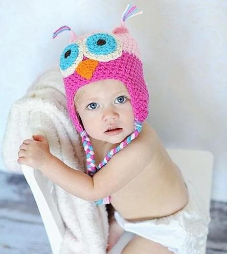 1 Unids Al Por Menor 24 Estilos bebé Recién Nacido Infantil Búho Sombrero Gorro Apoyos de la Fotografía Traje Hecho A Mano de Los Niños Gorro Animal