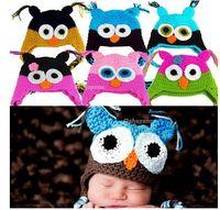 ingrosso gufi baby beanie-Vendita all'ingrosso Vendita al dettaglio 24 Stili Newborn Baby Infant Knit Owl Beanie Hat Fotografia Puntelli Costume fatto a mano Bambini Cap animale