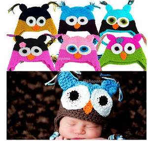 Wholesale sales Retail 24 Styles Newborn Baby Infant Knit Owl Beanie Hat Photography Props Costume Handmade Children Animal Cap