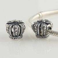 s925 sterling silber gewinde großhandel-Authentische 100% S925 Sterling Silber Thread Royal Krone Charm Bead passt europäischen Schmuck Pandora Charm Armbänder