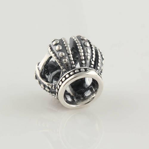 Autentisk 100% S925 Sterling Silver Tråd Royal Crown Charm Bead Passar European Smycken Pandora Charm Armband