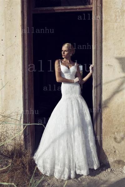 2014 New Arrival Amazing Cheap Mermaid Wedding Dresses With Lace Ruffles Beads Backless Bridal Gown RD 13006
