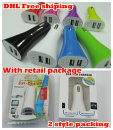 Wholesale Colorful Car Chargers Cable Iphone - colorful dual USB car charger for iPhone 5 3GS 4G 4S for iPod MP3 MP4 Samsung 50pcs MOQ with retail box DHL.